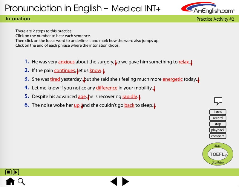 Pronunciation in English for medical professionals